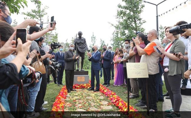 S Jaishankar Unveils Mahatma Gandhi's Statue In Georgia