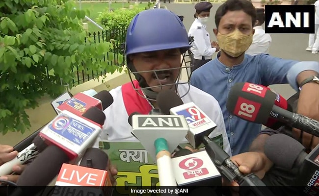 On Day 1 Of Monsson Session, RJD MLAs Wear Helmets To Bihar Assembly