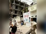 Video : Watch: Ex-MP's Building Razed In UP, Rubble Falls On Driver, Rescued