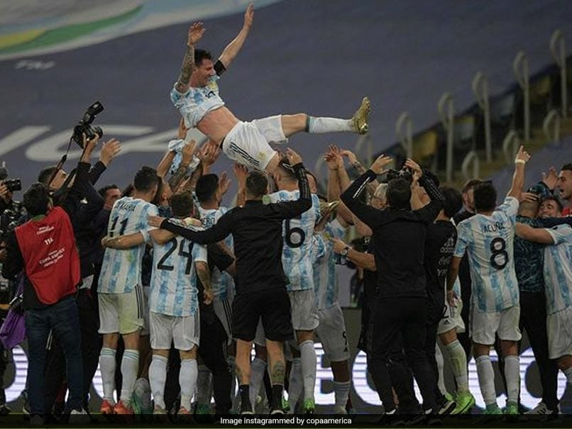 Watch: Incredible Scenes As Lionel Messi Tossed In The Air By Argentina Teammates After Copa America Triumph