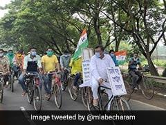 """""""Modi <i>Babu</i>, Petrol <i>Bekabu</i>"""": Bengal Minister Rides Cycle Against Fuel Price Hike"""