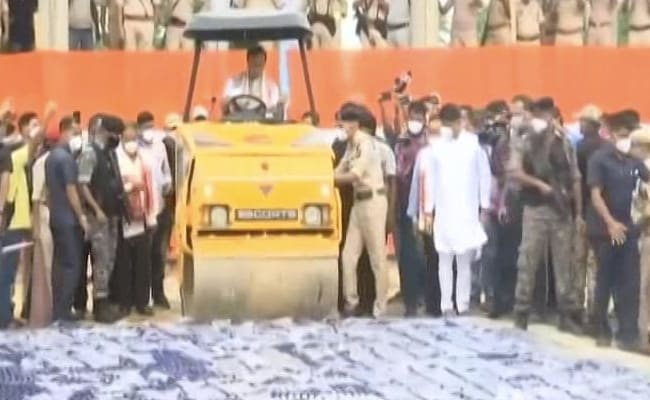 Watch: Assam Chief Minister Himanta Biswa Sarma Drives Bulldozer Over Seized Drugs