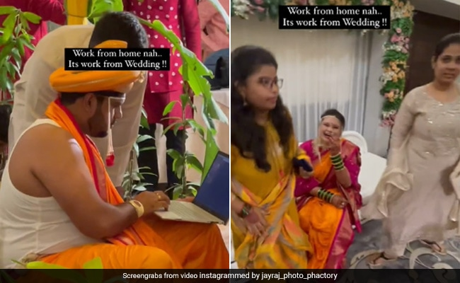 Viral Video: Groom Sits At Mandap With Laptop. Watch The Bride's Reaction...