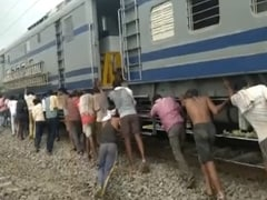 Watch: Workers Made To Push Train Wagon After Snag In Madhya Pradesh
