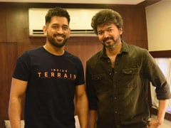 Viral: Actor Vijay And MS Dhoni Catch Up On <I>Beast</i> Set In Chennai