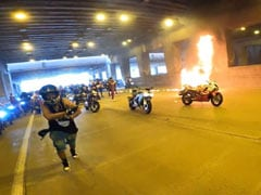 Video: Motorcycle Rider's Attempt At Wheelie Ends In Flames