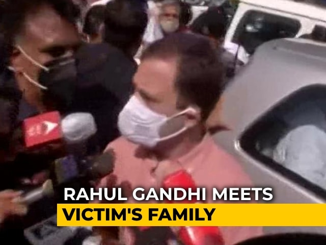 """Video : """"With Them"""": Rahul Gandhi Meets Family Of Girl Allegedly Raped, Killed"""