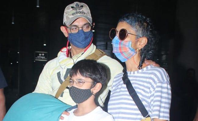 Aamir Khan, Kiran Rao And Son Azad Fly Home From Laal Singh Chaddha Shoot. See Pics