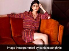 In A Printed Shirt Dress And Gladiator Heels, Sanjana Sanghi Is Peak Gen Z Cool Girl Style