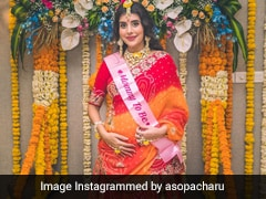 Charu Asopa Is A Traditional Mom-To-Be In A Red And Orange <i>Saree</i> For Her Baby Shower