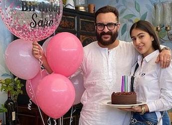 On Saif Ali Khan's Birthday, Sara Ali Khan Shares Adorable Family Pics Ft. Yummy Cake