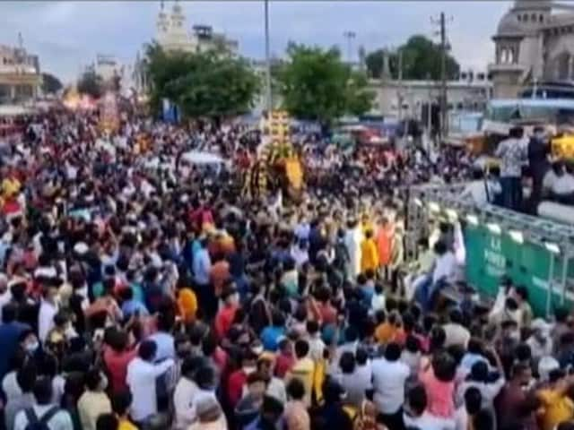 Video : Hundreds Gather Without Social Distancing For Bonalu Festival In Hyderabad
