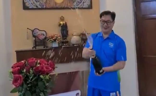 Video: Kiren Rijiju Pops Champagne To Celebrate India's Best Olympic Show