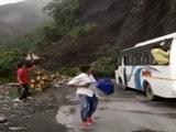 Video : Watch Bus Passengers Narrowly Escape Landslide In Nainital