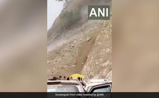 Video: Cars Turn Around, Locals Run To Escape Landslide In Uttarakhand