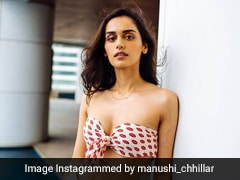 Manushi Chhillar Shows Us Just How Chic A Printed Bikini Can Look With Ripped Jeans And Heels