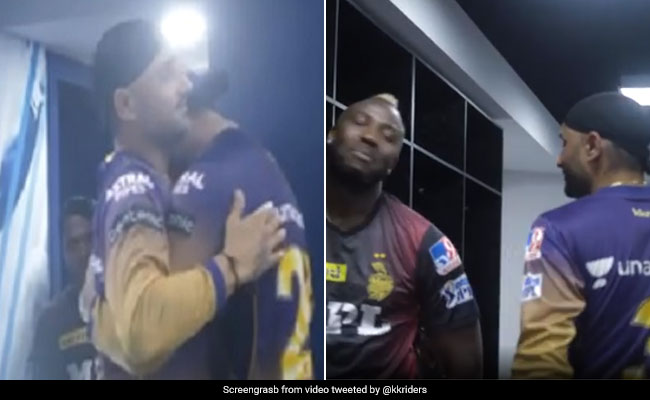 After the victory over RCB, KKR celebrated, Russell and Bhajji had fun in the dressing room, this player became emotional Watch Video IPL 2021
