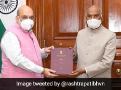 Amit Shah Presents Report On Official Language To President Kovind