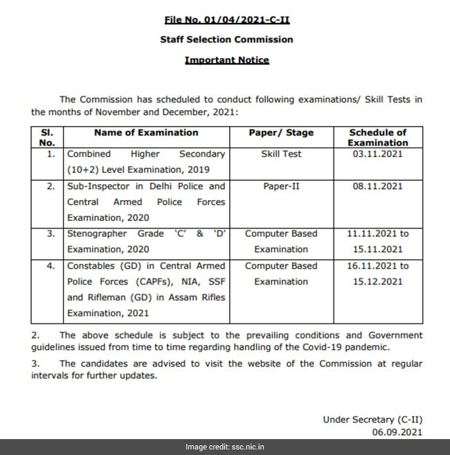 The SSC constable GD examination will take place from November 16, 2021 to December 15, 2021. A skills test for the Combined Higher Secondary Level (CHSL) will be held on November 3, 2021