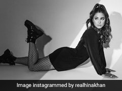 Hina Khan Goes Punk Rock Chic In A Mini Dress With Fishnet Stockings And Boots