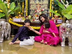 Ganesh Chaturthi 2021: Shilpa Shetty And Daughter Samisha Are Twinning In Her Post