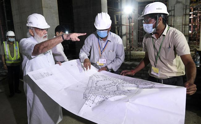 PM Visits Parliament Building Construction Site At Night, Inspects Work