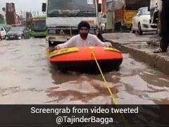 BJP Leader Rows Raft On Waterlogged Road In Delhi, Shares Video