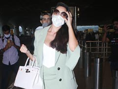 Nora Fatehi In A Green Co-Ord Set Rules Airport Fashion With A Rs 8 Lakh Hermes Birkin Handbag