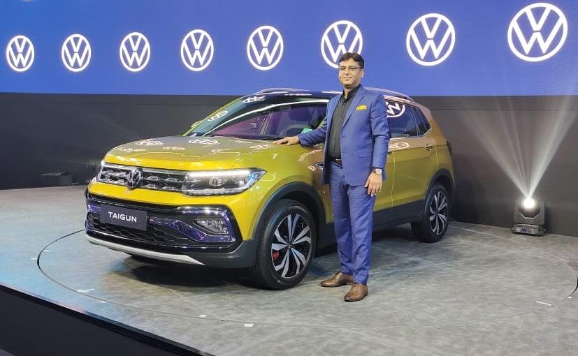 Ashish Gupta, Brand Director- Volkswagen India with the new Volkswagen Taigun.