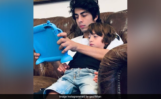 Do Not Disturb, It's Chill O'Clock For Aryan And AbRam. Pic Courtesy - Mom Gauri Khan