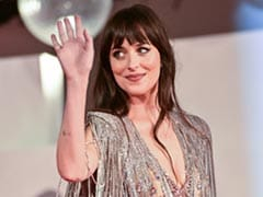 Not Just Grey, But Dakota Johnson Added Very Many Shades Of Silver In Her Gucci Dress Too