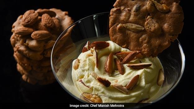Badam milk mousse, Almond Biscuit
