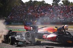 F1: Hamilton & Verstappen Crash Again At Monza As Both Retire