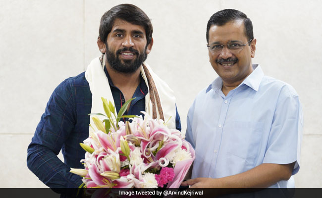 You are an inspiration to lakhs of youth says Delhi CM Arvind Kejriwal to Olympic winner Bajrang Punia
