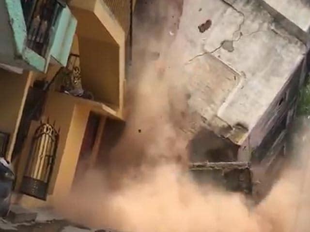 Video : On Camera, Bengaluru Building Comes Crashing Down