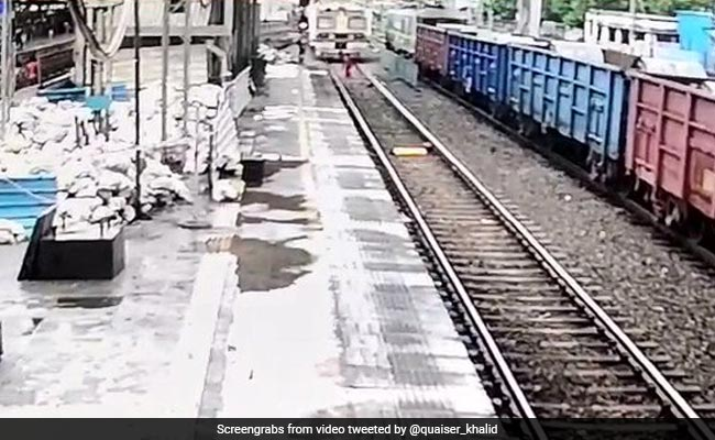 Video: Alert Maharashtra Cop Saves Woman From Being Run Over By Train