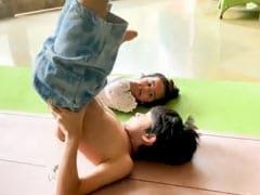 Shilpa Shetty's Monday Motivation Is Way Too Cute - Viaan Teaching Little Samisha Yoga