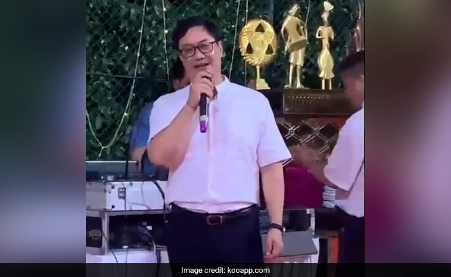 Watch: Minister Kiren Rijiju Breaks Into A Song 'Just To Please' Young Officers