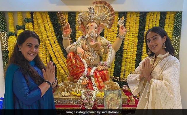 Ganesh Chaturthi 2021: Inside Sara Ali Khan's Festivities, With Mom Amrita Singh By Her Side