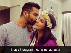 Mom-To-Be Neha Dhupia Looks Adorable In A Flower Crown And Purple Dress For Her Baby Shower