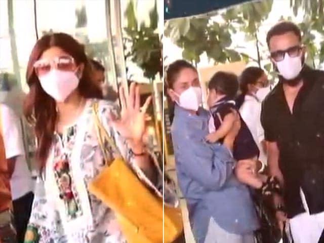 Video : Celeb Spotting: Kareena, Saif And Shilpa At The Airport