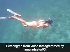 Amyra Dastur In A Vibrant Printed Bikini Is A Mermaid In Disguise