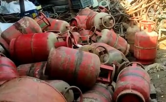 Cooking Gas Cylinders At Scrapyard Fuel Congress Fire At Centre's Scheme