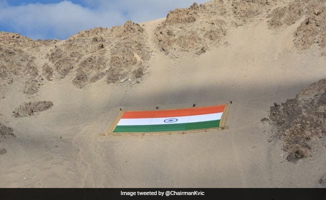 World's Largest Khadi National Flag, Weighing 1,000 Kg, Unveiled In Leh