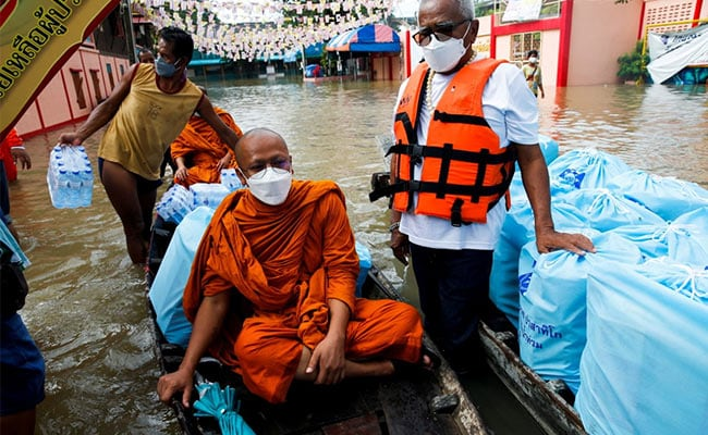 Temples Underwater, Monks Paddle Boats As Floods Hit Historic Thailand City