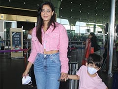 Shweta Tiwari Is A Stylish Mom In Matching Pink And Blue Casual Chic Airport Outfits