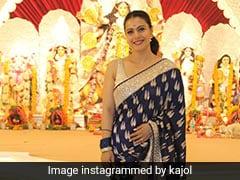Kajol Turns Many Heads In A Royal Blue Brocade <i>Saree</i> For Durga Puja 2021