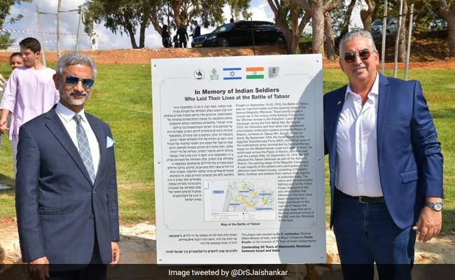 S Jaishankar presenta una placa en memoria de los soldados indios en Israel que sacrificaron sus vidas en la Primera Guerra Mundial