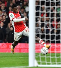 Watch: Arsenal Coach's Expression Will Tell You All About Nketiah's Goal