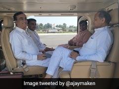 Ashok Gehlot, Sachin Pilot Inside A Chopper. Congress Unity Photo Op?